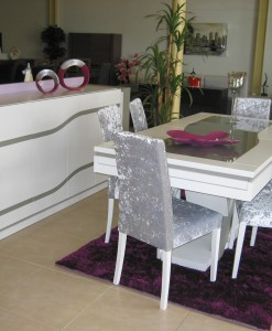 Sala Jantar Annie Branco e cinza