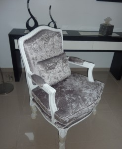 Cadeirao Rustico Cinza e Branco